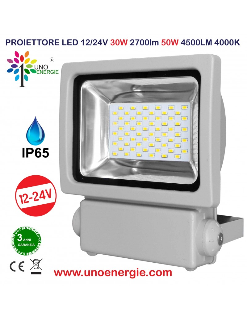 PROIETTORE LED 12/24V 30W 2700lm 50W 4500LM 4000K