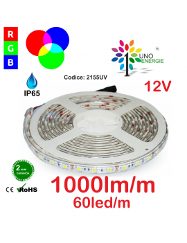 STRISCIA SMD5050 IP65 10,8W/MT 60LED/MT 12V RGB 5 METRI
