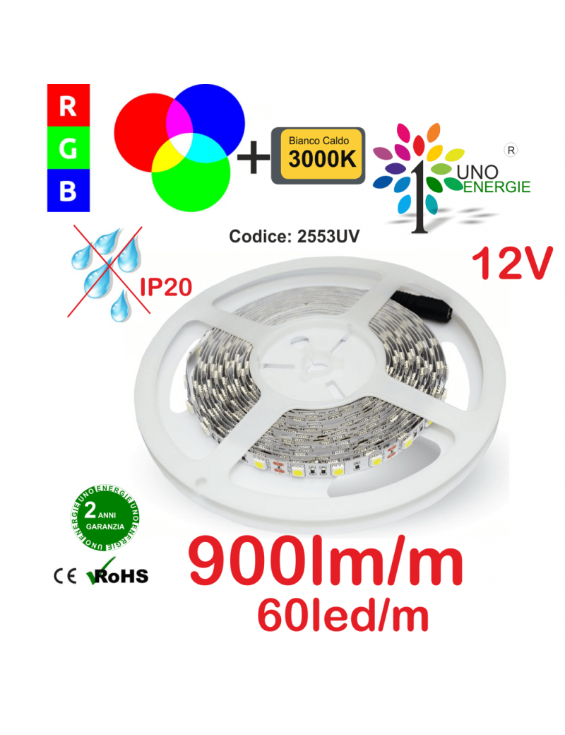 STRISCIA LED 5050 10,8W/MT. 12V IP20 MULTICOLORE RGB+3000K 60 LED/METRO.