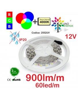 STRISCIA LED 5050 10,8W/MT. 12V IP20 MULTICOLORE RGB+4000K.