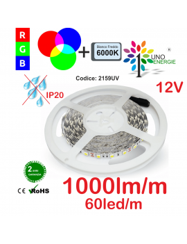 STRISCIA LED 5050 10,8W/MT. 12V IP20 MULTICOLORE RGB+6000K 60 LED/METRO BOBINA DA 5 METRI