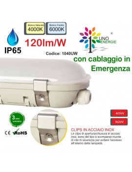 PLAFONIERA STAGNA IP65 OMEGA LED EMERGENZA.